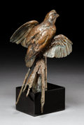 Bronze:American, Walter Matia (American, b. 1953). The Sleeper (BobwhiteQuail). Bronze with brown patina. 13 inches (33.0 cm) high on a...