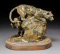 Sculpture:American, Joffa Kerr (American, b. 1935). Gotcha. Bronze with brown patina. 8 inches (20.3 cm) high on a 1-1/2 inches (3.8 cm) hig...