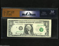 Error Notes:Attached Tabs, Fr. 1908-H $1 1974 Federal Reserve Note. RCGS 30 Very Fine....