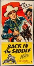 """Movie Posters:Western, Back in the Saddle (Republic, R-1945) Folded, Fine+. Three Sheet (41"""" X 80""""). Western...."""