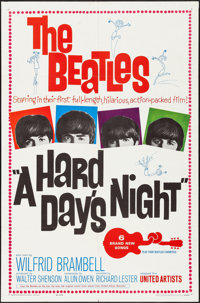 "A Hard Day's Night (United Artists, 1964). Folded, Fine/Very Fine. One Sheet (27"" X 41""). Rock and Roll"