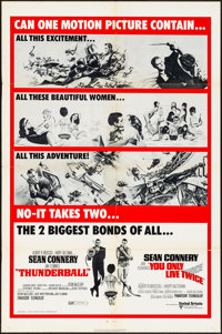 """Thunderball/You Only Live Twice Combo (United Artists, R-1970) Folded, Fine/Very Fine. One Sheet (27"""" X 41"""")..."""
