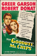 "Movie Posters:Drama, Goodbye, Mr. Chips (MGM, R-1947) Folded, Fine/Very Fine. One Sheet(27"" X 41""). Drama...."