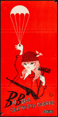 "Babette Goes to War (Columbia, 1960). Folded, Fine/Very Fine. French Poster (15"" X 31.25"") Red Style. Foreign..."