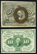 Fractional Currency:First Issue, Fr. 1242 10¢ First Issue About New;. Fr. 1244 10¢ Second IssueAbout New.. ... (Total: 2 notes)