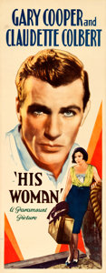 """Movie Posters:Drama, His Woman (Paramount, 1931). Rolled, Very Fine. Insert (14"""" X36"""").. ..."""