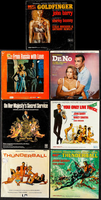 James Bond Vinyl Record Lot (United Artist Records, 1962-1969) Fine/Very Fine. Original Motion Picture Soundtrack LPs (7...
