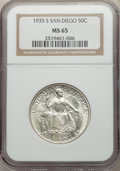 Commemorative Silver, 1935-S 50C San Diego MS65 NGC. NGC Census: (2667/798). PCGS Population: (5919/1986). MS65. Mintage 70,132. ...