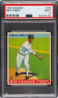 Baseball Cards:Singles (1930-1939), 1933 Goudey Red Faber #79 PSA Mint 9 - Pop One, None Higher! ...
