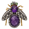 Estate Jewelry:Brooches - Pins, Multi-Stone, Diamond, Gold, Silver Brooch. ...
