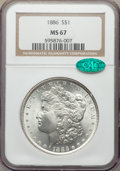 Morgan Dollars: , 1886 $1 MS67 NGC. CAC. NGC Census: (909/28). PCGS Population:(460/14). CDN: $725 Whsle. Bid for problem-free NGC/PCGS MS67...