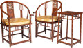 Furniture, A Pair of Chinese Huanghuali Bamboo-Carved Horseshoe Back Armchairs and Side Table, Republic period. 40-3/4 x 27-1/2 x 21-1/... (Total: 3 Items)