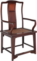 Furniture, A Chinese Burl-Inset Huanghuali Armchair, Qing Dynasty. 53-3/4 x 23-1/2 inches (136.5 x 59.7 cm). ...