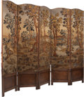 Furniture, A French Needlepoint Tapestry and Walnut Five-Panel Screen, late 19th -early 20th century. 83-3/4 x 103 inches (212.7 x 261....