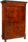 Furniture , A Continental Biedermeier Flame Mahogany and Marble Secrétaire à Abattant, 19th century. 56 x 38-1/4 x 16-1/2 inches (142.2 ...
