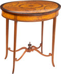 Furniture , A Georgian Marquetry-Inlaid Oval Occasional Table, 19th century. 27-1/4 x 26 x 19-3/4 inches (69.2 x 66.0 x 50.2 cm). PROP...