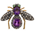 Estate Jewelry:Brooches - Pins, Diamond, Amethyst, Tsavorite Garnet, Silver, Gold Plated Brooch. ...