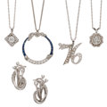 Estate Jewelry:Lots, Diamond, Sapphire, Platinum, White Gold, Sterling Silver Jewelry.... (Total: 5 Items)