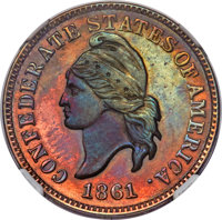1861 1C Confederate States of America Cent, Copper Restrike -- Cleaned -- NGC Details. Proof. Breen-8008, Bertram-B861-2...