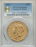 Liberty Double Eagles, 1856 $20 -- Cleaned -- PCGS Genuine Secure. AU Details. NGC Census: (59/243 and 0/0+). PCGS Population: (48/167 and 0/4+). ...