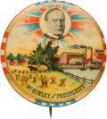 """Political:Pinback Buttons (1896-present), William McKinley: Colorful """"McKinley and Prosperity"""" Pin...."""