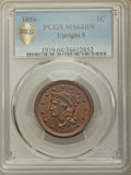 1856 1C Upright 5 MS64 Brown PCGS Secure. NGC Census: (167/107 and 0/0+). PCGS Population: (104/39 and 2/5+). CDN: $480...