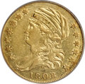 Early Half Eagles, 1808/7 $5 Wide Date, BD-1, R.6, VF35 PCGS. Gold CAC....