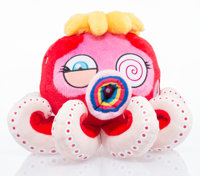 Takashi Murakami X The Broad Red Octopus: Mr. Boiled, c. 2017 Plush toy 4-1/2 x 6 x 6 inches (11