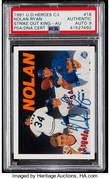 1991 Upper Deck Baseball Heroes Nolan Ryan Autograph Card 18 Lot