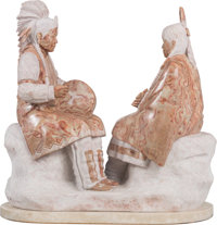 Oreland C. Joe, Sr. (American, b. 1958) Cheyenne Courting Song, 2004 Alabaster 26-1/2 inches (67