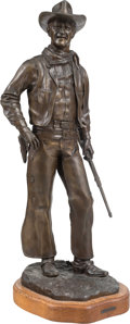Sculpture, Jesse Corsaut (American, b. 1929). John Wayne. Bronze with brown patina. 30 inches (76.2 cm) high on a 2 inches (5.1 cm)...