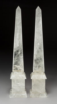 A Pair of Rock Crystal Obelisks, 20th century 25-5/8 x 5 x 5 inches (65.1 x 12.7 x 12.7 cm) (each)  PROPERTY