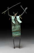 Sculpture, Bill Worrell (American, b. 1936). Caped, Antlered Shaman with Spear Thrower and Ring of Forever. Bronze with green patin...