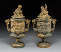 Decorative Arts, French:Other , A Pair of French Louis XV-Style Gilt Bronze Covered Urns, late 19th century . 13-3/4 x 8-1/2 x 6 inches (34.9 x 21.6 x 15.2 ... (Total: 2 Items)