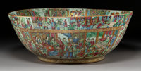 A Chinese Export Famille Rose Enameled Porcelain Bowl, late 19th century 8-5/8 x 22-3/4 inches (21.9 x 57.8 cm)