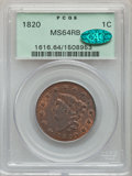 Large Cents, 1820 1C Large Date, N-13, R.1, MS64 Red and Brown PCGS. CAC....