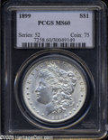 """Morgan Dollars: , 1899 S$1 MS60 PCGS. The current Coin Dealer Newsletter (Greysheet)wholesale """"bid"""" price is $142.00...."""