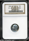 Proof Roosevelt Dimes: , 1981-S 10C Type One PR 69 Deep Cameo NGC. ...