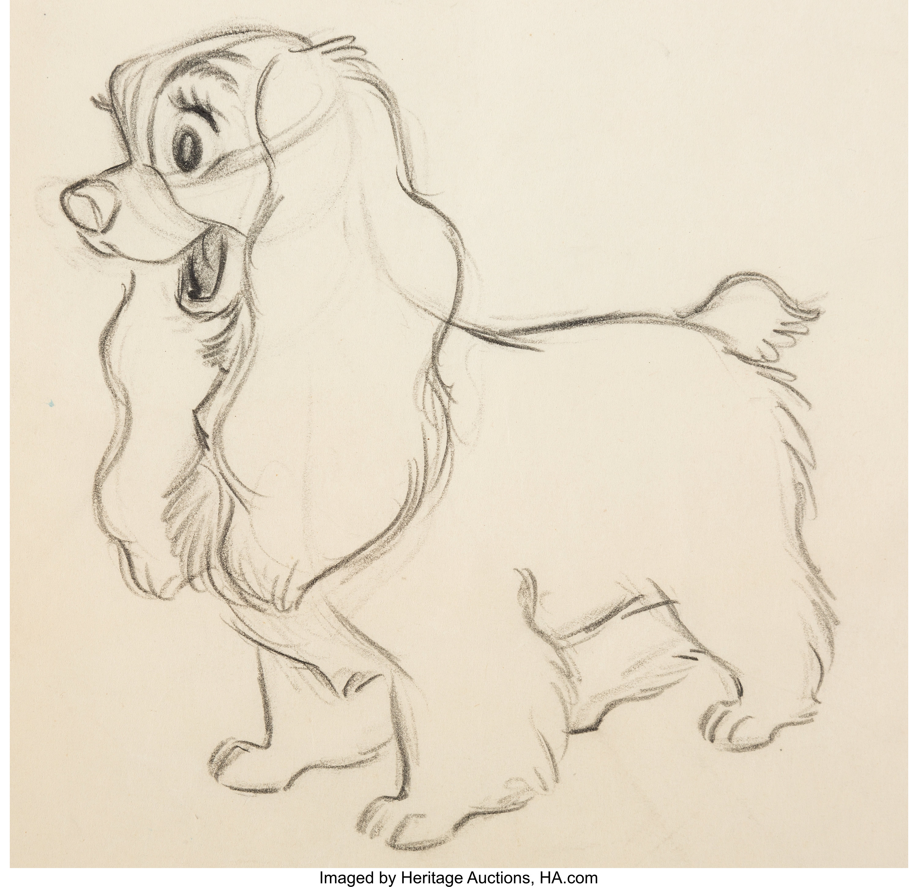 Lady And The Tramp Animation Drawing By Ollie Johnston Walt Lot 12185 Heritage Auctions