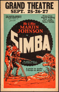 """Movie Posters:Documentary, Simba: The King of the Beasts (Martin Johnson African Expedition Corp., 1928).Fine/Very Fine. Window Card (14"""" X 22""""). Docum..."""