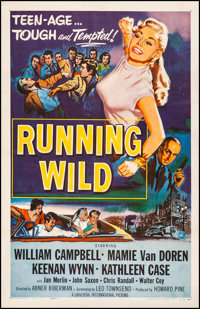 "Running Wild (Universal International, 1955) Fine+ on Linen. One Sheet (26.75"" X 41.5""). Bad Girl. From the Co..."