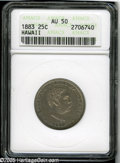 Coins of Hawaii: , 1883 25C Hawaii Quarter AU50 ANACS. ...