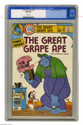 Bronze Age (1970-1979):Cartoon Character, Great Grape Ape #1 (Charlton, 1976) CGC NM 9.4 White pages.Overstreet 2004 NM- 9.2 value = $30. CGC census 2/05: 1 in 9.4, ...