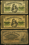 Canadian Currency, Dominion of Canada 25 Cents 1870 (2); 1900 DC-1; DC-15 ThreeExamples Good or better.. ... (Total: 3 notes)