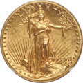 High Relief Double Eagles, 1907 $20 High Relief, Wire Rim MS62 NGC....