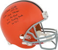 Football Collectibles:Helmets, Leroy Kelly Signed, Stat Inscribed Full Sized Helmet....