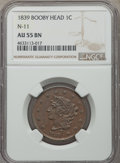 Large Cents, 1839 1C Booby Head, N-11, R.1, AU55 NGC. NGC Census: (3/8). PCGS Population: (0/9). Mintage 3,128,661. ...