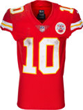 Football Collectibles:Uniforms, 2018 Tyreek Hill Game Worn & Unwashed Kansas City Chiefs Jersey - Photo Matched to 10/7 vs. Jaguars. ...