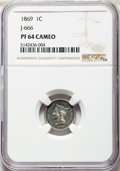 Patterns, 1869 1C One Cent, Judd-666, Pollock-741, R.5, PR64 Cameo NGC. NGC Census: (2/9). PCGS Population: (1/3). ...