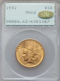 1932 $10 MS62 PCGS. Gold CAC. Housed in a first generation holder. PCGS Population: (14362/33493). NGC Census: (16172/40...